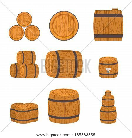 Set of wooden barrels, flat style isolated on white background. Collection of standing and lying wine, rum, beer classical wooden barrels