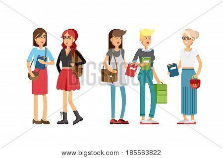 Flat illustratuion set of students with books. Fashion students. Young and stylish girl. Hipster students. Trendy youth. Beautiful young people. Friends