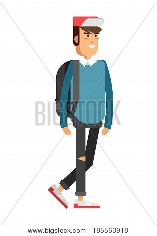 Vector detailed character people, character young man or sudent with book, male character in casual clothing style. Creative boy isolated on white background