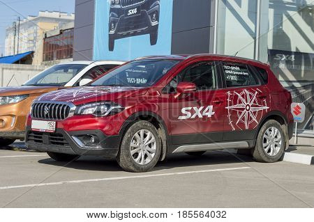 Nizhny Novgorod, Russia April 16, 2017: Dealer Center - Mitsubishi. The sample for test driving in the city. Car Mitsubishi SX4  .Russia