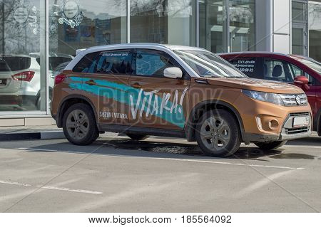 Nizhny Novgorod, Russia April 16, 2017: Dealer Center - Mitsubishi. The sample for test driving in the city. Car Mitsubishi Vitara. Russia