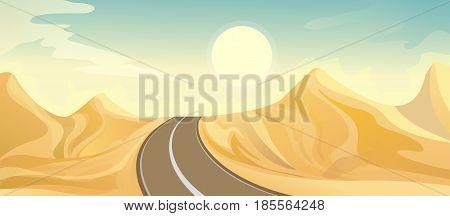 Desert landscape illustration with road and dune. Vector nature horizontal background