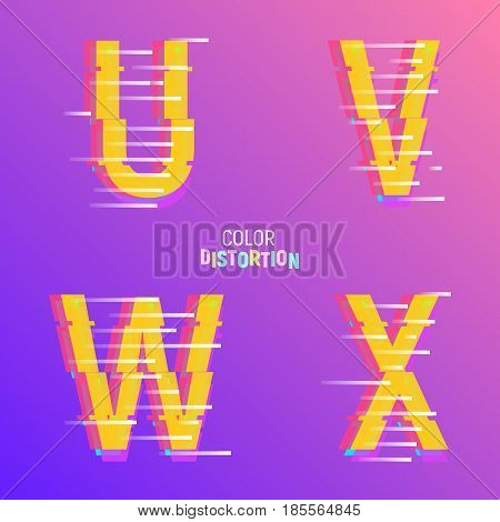 Typeface with glitch effect. Font with chromatic aberartion color effect