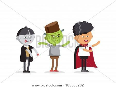 Happy Halloween. Set of cute cartoon children in colorful halloween costumes frankenstein and skeleton, zombie boy. Flat illustration set of halloween kids