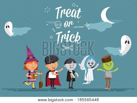 Happy Halloween. Set of cute cartoon children in colorful halloween costumes witches, ghost, skeleton, zombie. Flat illustration set of halloween kids