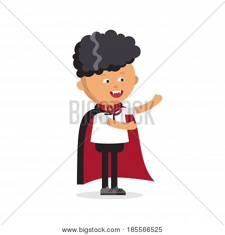 Funny little children in colorful costumes Dracula. Halloween cartoon vampire character isolated on white background.