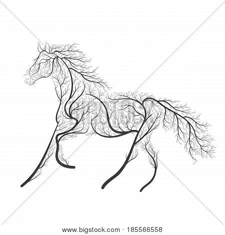 Concept Horse Jumping Stylized Bush For Use  On Cards, In Printing, Posters, Invitations, Web Design