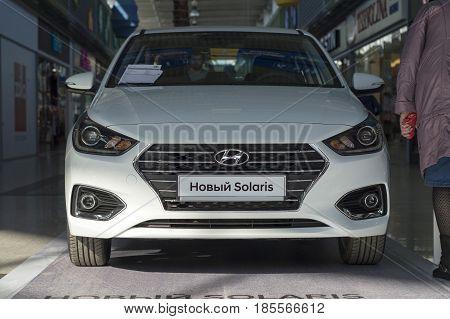 Nizhny Novgorod, Russia  April 15, 2017: Presentation of the new car model Polaris series. Concern Hyundai. Russia.
