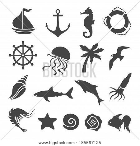 Nautical sea related design elements set. Graphics for patterns, prints, decoration needs. Vector illustration.