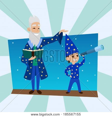 Astronomer grandfather with little boy vision person astronomy science sky space observatory vector illustration. Profession research spyglass cosmos observing character.