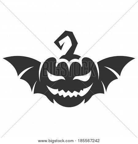 Pumpkin for Helloween with bat wings. For t-shirt or other uses - stock vector