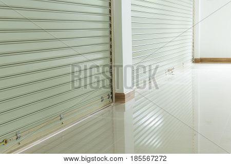 Aluminium Steel Roller Shutter Door And Tile Floor In House Building