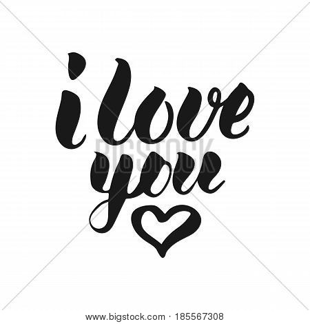 I Love You T-shirt print. Cute badge. Hand lettering and calligraphy for designs: t-shirts baner poster greeting cards. Vector brush typography illustration