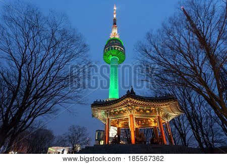 Namsan Tower Or N Seoul Tower At Night, Seoul, Korea.