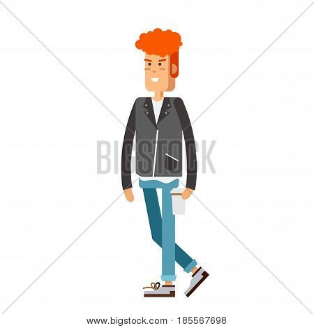 Illustration of a young handsome man in casual clothes or more eccentric hipster fashion with backpack. Man character in white background. Vector fasion man with coffee cup