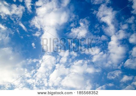 beautiful background of clouds against blue sky .