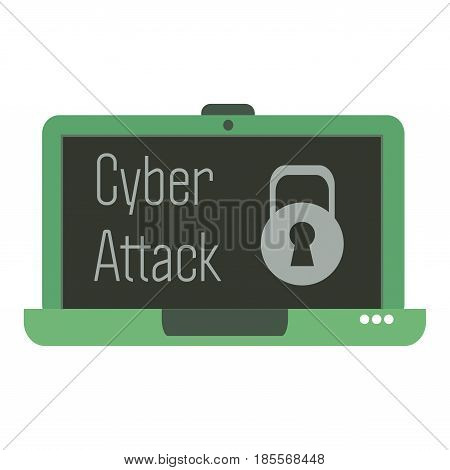 Isolated green laptop with the text cyber attack written on its screen