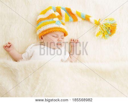 Baby Sleep in Hat Sleeping Newborn Kid in Bed Asleep New Born Child