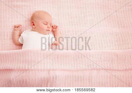 Baby Sleeping Newborn Kid Sleep in Bed New Born Child Asleep on Pink Blanket