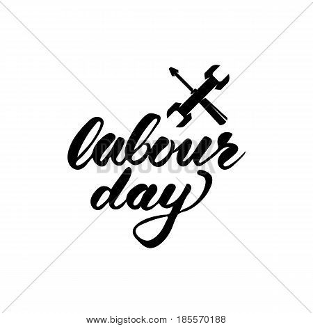 Labour Day logo concept with wrenches. Happy 1st may lettering vector background. International Workers day illustration. Hand drawn inscription typography for banner poster or design