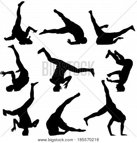 Set Black Silhouettes breakdancer on a white background.