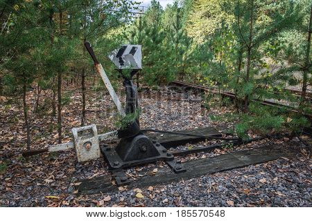 Railroad switch near Prypiat ghost town of Chernobyl Exclusion Zone Ukraine