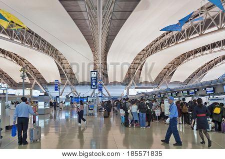 Osaka, Japan - April 2016: Interior Shot Inside Passenger Departure Terminal, Kansai International A