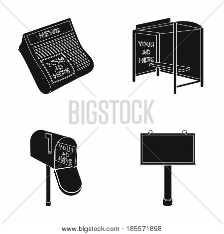 Newspapers, a bus stop, a mail box, a billboard.Advertising, set collection icons in black style vector symbol stock illustration .