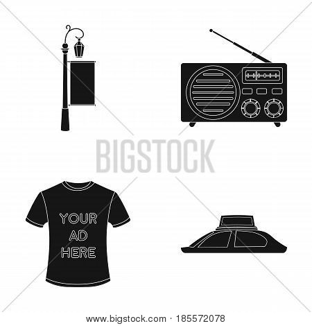 A lamppost with a sign, a T-shirt with an inscription, a radio, a car roof.Advertising, set collection icons in black style vector symbol stock illustration .