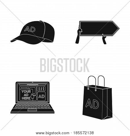 Baseball cap, pointer in hands, laptop, shopping bag.Advertising, set collection icons in black style vector symbol stock illustration .