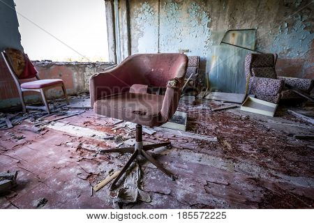 Interior of former factory in Pripyat desolate city in Chernobyl Exclusion Zone Ukraine