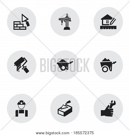 Set Of 9 Editable Structure Icons. Includes Symbols Such As Scrub, Handcart , Employee. Can Be Used For Web, Mobile, UI And Infographic Design.