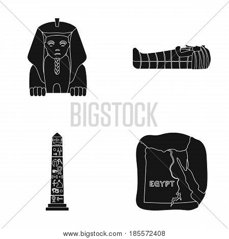 The territory of Egypt, the Sphinx, the pharaoh's sarcophagus, the Egyptian pillar with the inscription.Ancient Egypt set collection icons in black style vector symbol stock illustration .