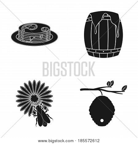 A hive on a branch, a bee on a flower, a honeycomb with honey, a honey cake.Apiary set collection icons in black style vector symbol stock illustration .