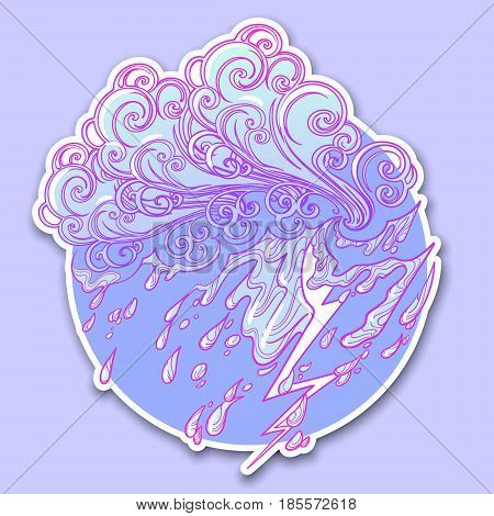 Decorative sticker. Retro style curly decorative cloud with rain drops. Decorative element for tattoo textile prints or greeting card design. EPS10 vector illustration
