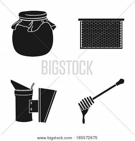 A frame with honeycombs, a ladle of honey, a fumigator from bees, a jar of honey.Apiary set collection icons in black style vector symbol stock illustration .