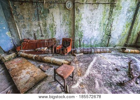 Desolate factory in Pripyat desolate city in Chernobyl Exclusion Zone Ukraine
