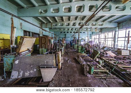 Lacquering hall in former factory in Pripyat desolate city in Chernobyl Exclusion Zone Ukraine