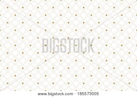 Golden texture. Geometric seamless pattern with connected lines and dots. Lines plexus circles. Graphic background connectivity. Modern stylish backdrop for your design. Vector illustration