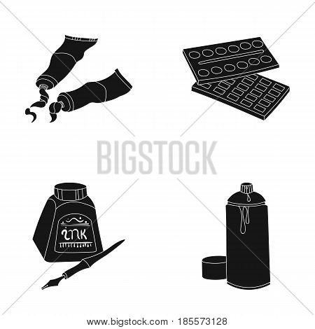 Balonchik paints, tubes with paint, watercolor in a box, ink in a bottle and a pen.Artist and drawing set collection icons in black style vector symbol stock illustration .