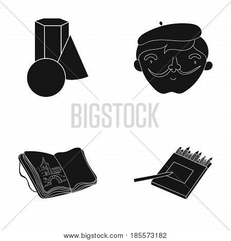 Geometric still life, a self-portrait of the artist, a notebook with drawings, a box of colored pencils.Artist and drawing set collection icons in black style vector symbol stock illustration .
