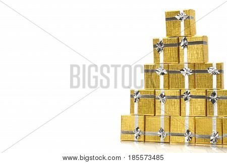 towel gold gift boxes on white background