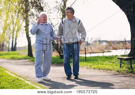 Adult son walking with his senior father in the park.