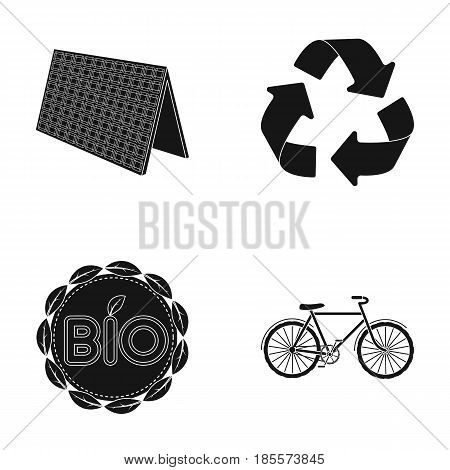 Bio label, eco bike, solar panel, recycling sign.Bio and ecology set collection icons in black style vector symbol stock illustration .