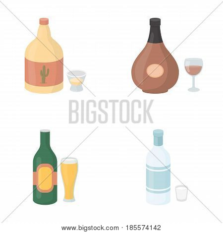 Tequila, cognac, beer, vodka.Alcohol set collection icons in cartoon style vector symbol stock illustration .