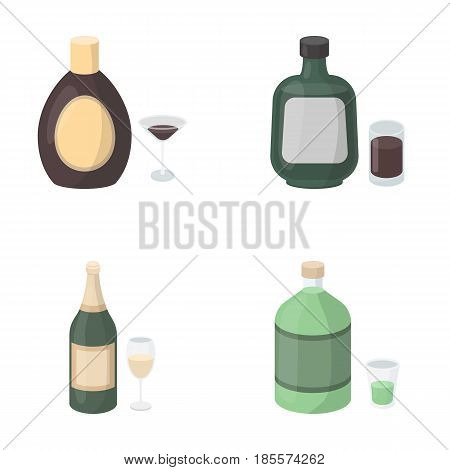 Liquor chocolate, champagne, absinthe, herbal liqueur.Alcohol set collection icons in cartoon style vector symbol stock illustration .