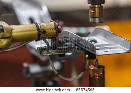 Semi auto, spot welding machine, automotive part in a car factory