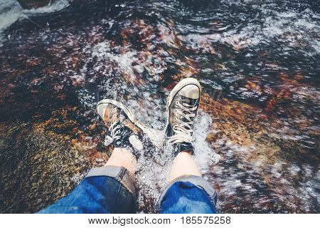 Hiking boots hiker tourism in forest nature mountain adventure