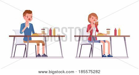 Set of male and female millennial, trendy haircut, smart casual dressing, sitting at the table, having break and eating lunch, vector flat style cartoon illustration, isolated, white background