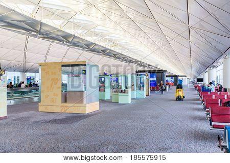 Hong Kong international airport, Hong Kong, September 2016 -: Hall at airport in Hong Kong
